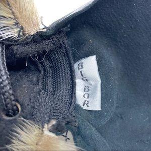 Vintage Accessories - Vintage Black Leather & Fur Trim Biker Moto Hat